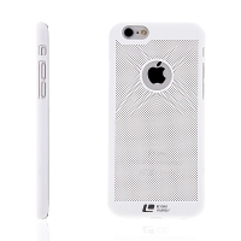Plastový kryt LOOPEE pro Apple iPhone 6 / 6S s výřezem pro logo - děrovaný - bílý
