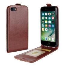 Pouzdro pro Apple iPhone 7 / 8 / SE (2020) - vyklápěcí - kožené hnědé