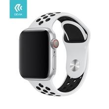 Řemínek DEVIA pro Apple Watch 44mm Series 4 / 5 / 6 / SE / 42mm 1 / 2 / 3 - sportovní - silikonový - bílý / černý