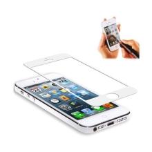 Ochranné nalepovací tvrzené sklo tl. 0,4mm s bílým rámečkem pro Apple iPhone 5 / 5C / 5S / SE a se samolepkami na Home Button