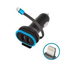 Autonabíječka FOREVER 2x USB + kabel Lightning - 2,4A - černá / modrá