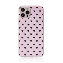 Kryt BABACO pro Apple iPhone 12 / 12 Pro - gumový - srdíčka - růžový