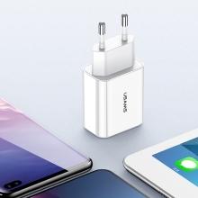 Nabíječka / adaptér USAMS pro Apple iPhone / iPad - 2x USB - 2,1A / 10W - LCD displej - EU - bílá