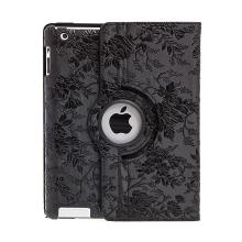 Pouzdro pro Apple iPad 2 / 3 / 4 - 360° otočný stojánek - květiny - černé