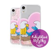 Kryt ŠMOULOVÉ pro Apple iPhone Xr - pohyblivá srdíčka - gumový - zamilovaní Šmoulové