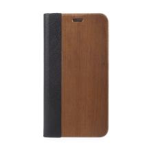Pouzdro pro Apple iPhone 6 Plus / 6S Plus / 7 Plus / 8 Plus - dřevo / umělá kůže - černé / hnědé