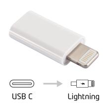 Přepojka / redukce Lightning samec na USB-C 3.1 samice - bílá