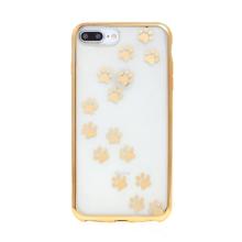 Kryt pro Apple iPhone 6 Plus / 6S Plus - gumový - průhledný - tlapky - zlatý