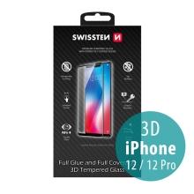 Tvrzené sklo (Tempered Glass) SWISSTEN pro Apple iPhone 12 / 12 Pro - 3D - černý rámeček - 0,3mm