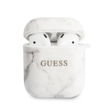 Pouzdro GUESS Marble pro Apple AirPods - gumové - bílé