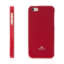 Gumový kryt Mercury pro Apple iPhone 5 / 5S / SE - jemně třpytivý - červený
