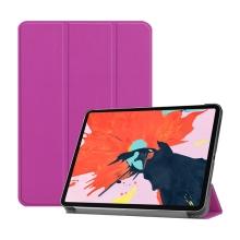 """Pouzdro / kryt pro Apple iPad Pro 12,9"""" (2018) - funkce chytrého uspání + stojánek - umělá kůže - fialové"""