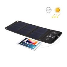 Outdoor skládací solární nabíječka HAWEEL pro Apple a další zařízení - 2x USB (2,4A/5V/21W) rychlonabíjecí - černá