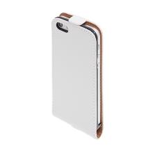 Flipové vyklápěcí pouzdro pro Apple iPhone 5 / 5S / SE s texturou kůže - bílé