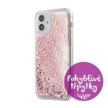 Kryt GUESS Liquid Glitter pro Apple iPhone 12 mini - plastový - růžové třpytky