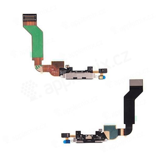 Flex kabel + mikrofon + napájecí a datový konektor pro Apple iPhone 4S - černý