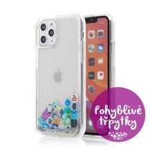 Kryt pro Apple iPhone 11 Pro Max - pohyblivé třpytky - plastový / gumový - ikony aplikací