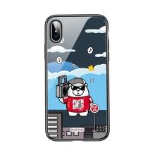 Kryt ROCK pro Apple iPhone Xs Max - sklo / guma - rockový medvěd