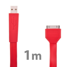 Plochý synchronizační a nabíjecí USB kabel pro Apple iPhone / iPad / iPod - červený