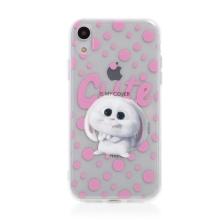 Kryt Tajný život mazlíčků pro Apple iPhone Xr - gumový - průhledný / králík Snížek