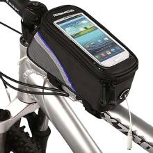 Sportovní pouzdro na kolo pro Apple iPhone a zařízení vel. až 4 s úschovným prostorem - černo-modré s reflexním pruhem?