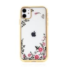 Kryt FORCELL Diamond pro Apple iPhone 11 - gumový - květiny a kamínky