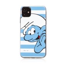 Kryt ŠMOULOVÉ pro Apple iPhone 11 - gumový - pruhovaný / usměvavý Šmoula