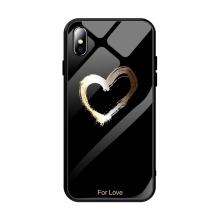 "Kryt pro Apple iPhone Xs Max - srdce ""For Love"" - guma / sklo - černý"