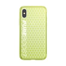 Kryt BASEUS pro Apple iPhone X - perforovaný / s otvory - plastový / gumový - žlutozelený