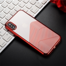 Kryt SULADA pro Apple iPhone X / Xs - gumový - průhledný / červený