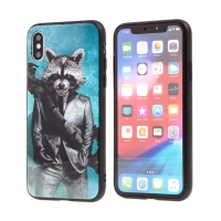 Kryt MARVEL pro Apple iPhone X - Rocket - sklo / guma