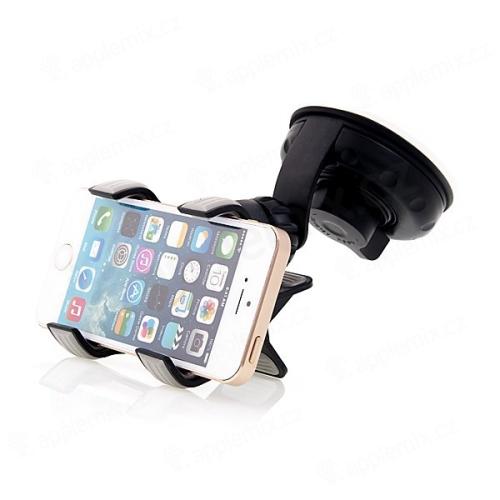 Univerzální rotační držák do automobilu se širší klipsnou pro Apple iPhone a podobná zařízení - černý