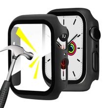 Tvrzené sklo + rámeček pro Apple Watch 44mm Series 4 / 5 / 6 / SE - černý
