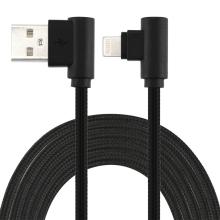 Synchronizační a nabíjecí kabel - Lightning pro Apple zařízení - tkanička - 90° lomená koncovka Lightning - černý