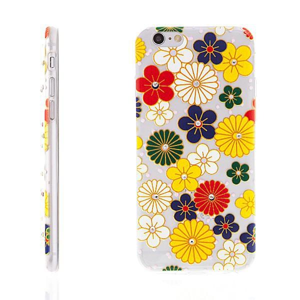 Gumový kryt pro Apple iPhone 6 / 6S - barevné květy s lesklými kamínky