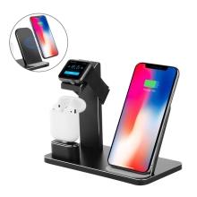 Nabíjecí stojánek Qi pro Apple iPhone / Airpods / Watch - hliníkový - černý