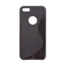 Ochranný gumový protiskluzový kryt S line pro Apple iPhone 5 / 5S / SE - černý