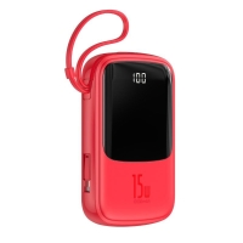 Externí baterie / power bank BASEUS 10000mAh - 2x USB, 3A + Lightning + USB-C - červená