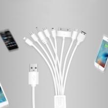 Nabíjecí kabel 8v1 pro Apple iPhone a další telefony - Lightning, 30 pin, USB-C - bílý - 1m