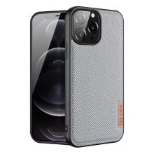 Kryt DUX DUCIS FINO pro Apple iPhone 13 Pro Max - látková textura - světle šedý
