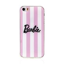 Kryt BARBIE pro Apple iPhone 5 / 5S / SE - svislé pruhy - gumový - růžový / bílý