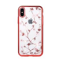 Kryt SULADA pro Apple iPhone Xs Max - plastový - motýli a květiny s kamínky - červený