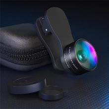 Multifunkční objektiv ESSAGER - sada 2v1 pro Apple iPhone - s klipem - širokoúhlý + makro - černý
