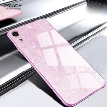 Kryt  PRODA pro Apple iPhone Xr - perleťová 3D textura - gumový / skleněný - růžový