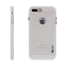 Kryt SLiCOO pro Apple iPhone 7 Plus / 8 Plus gumový / bílý plastový rámeček - broušený vzor