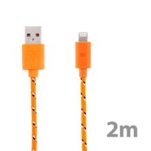 Synchronizační a nabíjecí kabel Lightning pro Apple iPhone / iPad / iPod - tkanička - oranžový - 2m