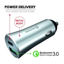Autonabíječka SWISSTEN - USB + USB-C - 36W PD + QC 3.0 rychlé nabíjení - kovová - stříbrná