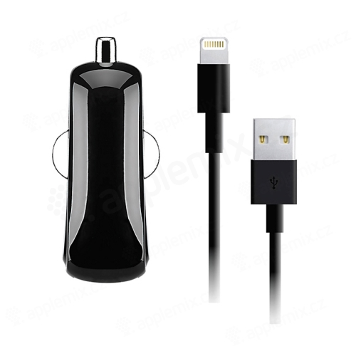 2v1 nabíjecí sada GOJI pro Apple zařízení - autonabíječka USB (2.4A) + MFi certifikovaný kabel Lightning - černá