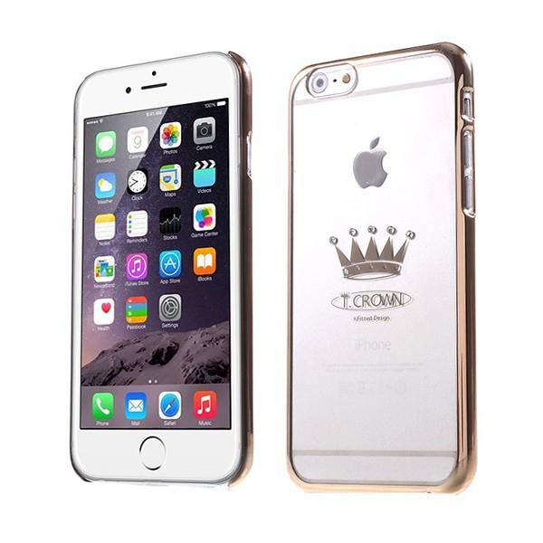Plastový kryt X-FITTED pro Apple iPhone 6 / 6S - průhledný + zlatý rámeček - zlatá koruna zdobená kamínky Swarovski