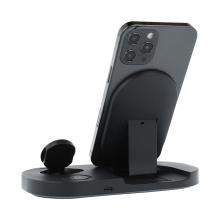 3v1 nabíjecí stanice Qi pro Apple iPhone + AirPods + Watch - skládací - černá